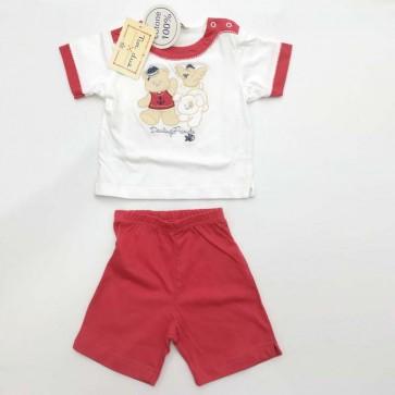 Completo maschietto bianco rosso neonato 2 pezzi primavera estate 100% cotone taglia 9 mesi