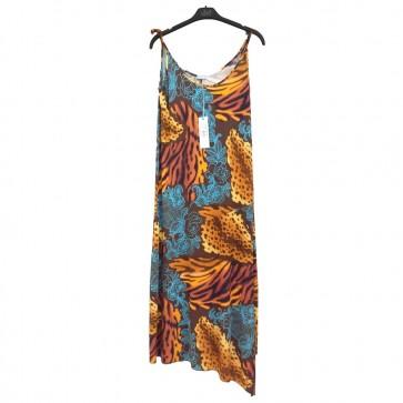Vestito abito smanicato spalla stretta bredellina donna signora fiorato Ragno Made in Itaty
