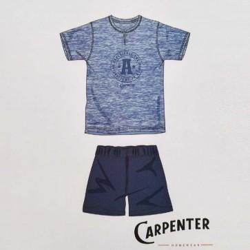 Pigiama estivo uomo corto, mezza manica e pantalone corto 100% cotone Carpenter