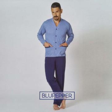 Pigiama uomo estivo freschissimo, manica lunga e pantalone lungo, maglia aperta a giacca in tessuto 100% cotone Blupepper