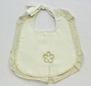 Bavetta bavaglino neonato in cotone assemblata a mano