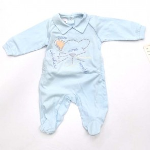 Tutina primavera estate 100% cotone celeste neonato maschietto Montebovy taglia 3 mesi