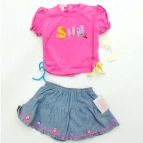 Completo femminuccia neonato gonna jeans maglia rosa primavera estate 100% cotone taglia 12 mesi