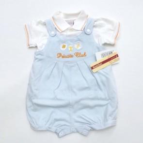 Pagliaccetto tutina sgambata maschietto celeste neonato primavera estate 100% cotone taglia 3 mesi