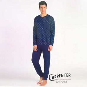 Pigiama estivo uomo manica lunga pantalone lungo 100% cotone Carpenter