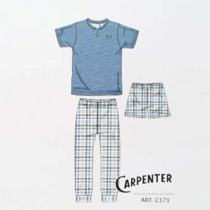 Pigiama uomo estivo, tre pezzi, mezza manica, pantalone corto e pantalone lungo 100% cotone Carpenter