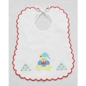 Bavetta bavaglino neonato in cotone punto croce mis. Grande